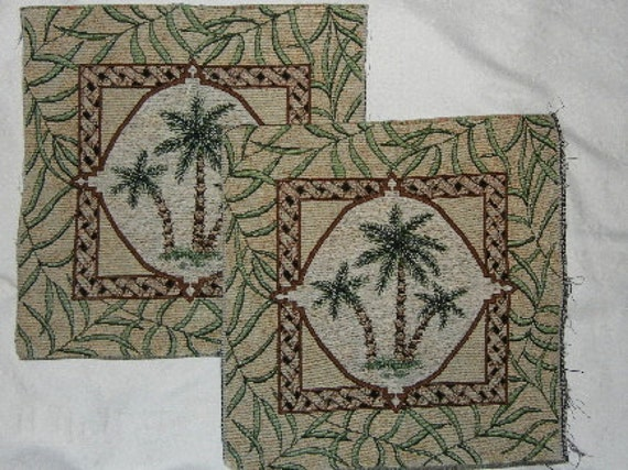Upholstery Fabric with Palm Tree Design - Tapestry Pair