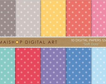 Digital Paper - Soft Dots - Polka Dots Digital Sheets - 12x12 inches
