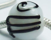 Me  - White Marble limited edition BBB lampwork charm bead
