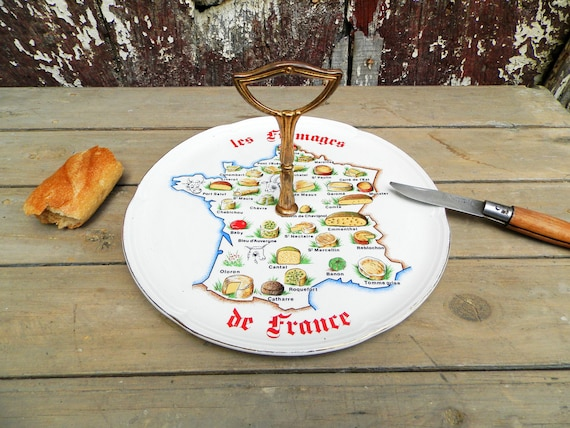 Vintage French cheese plate with a map of France.