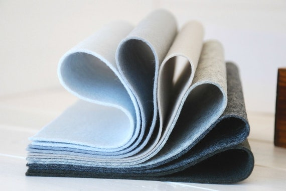 "100% Wool Felt Sheets - ""Shades of  Gray Collection"" - 6 Wool Felt Sheets of 8"" x 12"" in shades of Gray - Wool Felt Blundle"