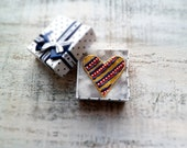 Colorful heart magnet Valentine Day decor, Valentine gift dots & stripes mustard white red blue