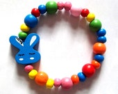Bunny Rabbit beaded bracelet Kawaii wooden Jewellery/Jewelry