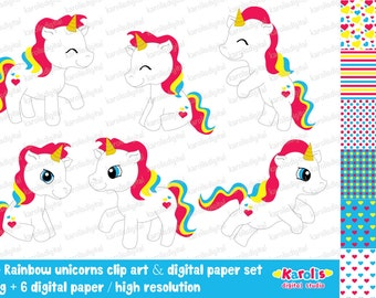 Cute rainbow unicorns - clip art & digital paper set - Personal and commercial use - Instant download