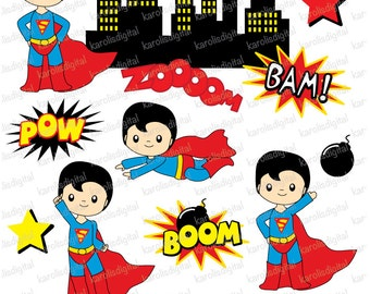 Superman - superheroes - clip art set - superhero Personal & commercial use - Instant Download