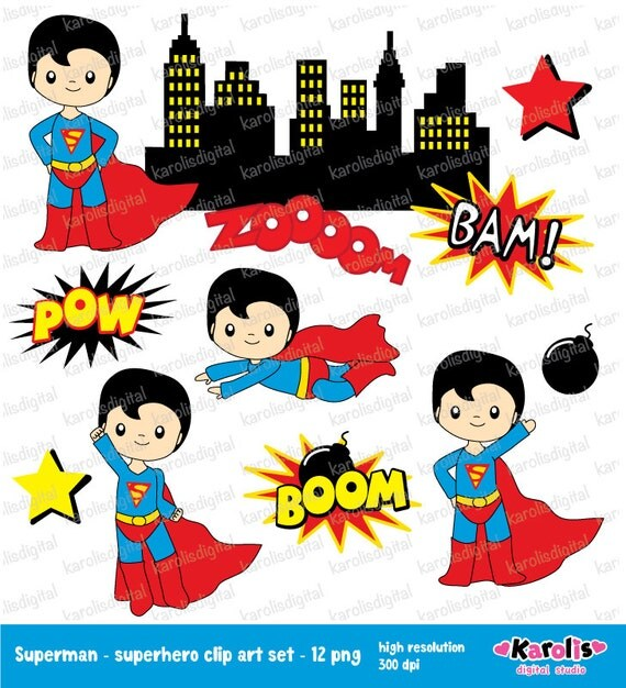 Superman Superheroes Clip Art Set Superhero Personal