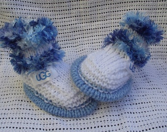 baby boots 0/6 months decorated with designer ribbon