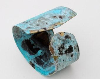 Patina Brass Bracelet Handmade, Hand Forged, Turquoise Patina Cuff, Patina Jewelry