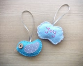 Christmas Felt Ornament - home decor - Cute kawaii ornament - set of bird and Joy christmas ornaments -  READY TO SHIP