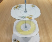 3 tier cake stand made from vintage English plates with white gift box
