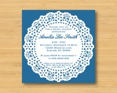 Lace Doily Bridal Shower Invitation - Printable 5x5 - Baby Shower, Tea Party