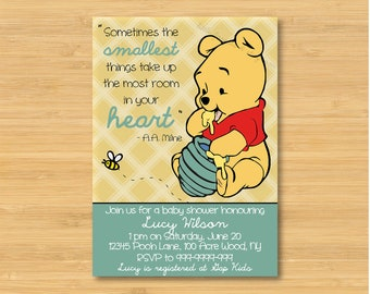Winnie the Pooh Baby Shower Invitation - Printable - The Smallest Things - Gender Neutral, Boy, Girl