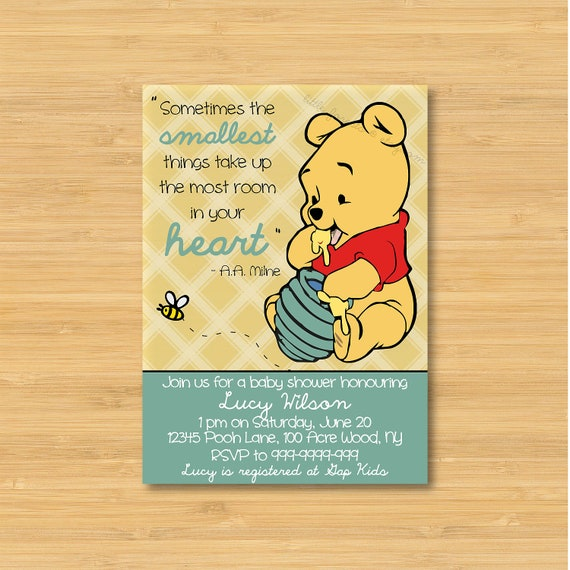 winnie the pooh baby shower invitation printable the smallest