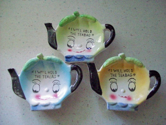 "Whimiscal ""I Will Hold the Teabag"" Holders-Set of 3"