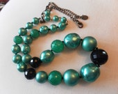Chunky metalic teal and black beaded necklace