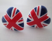 Union jack button Earrings