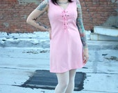 1960s or 1970s Sleeveless Pink Mod Go Go Dress with Lace Up Front