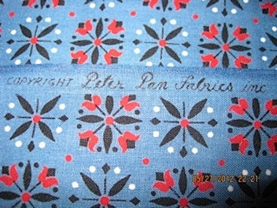 vintage Peter Pan cotton fabric in blue and red