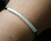 Stardust Textured Silver Tube Bracelet on Authentic Leather Cording