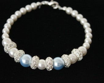 White and Light Blue  Swarovski Pearl  Crystal Bridal Bridesmaid Bracelet.