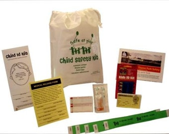 Child Safety Kit for Vacation Travel, Summer Camps, Theme Parks, Zoos, Field Trips. 8 types of items.