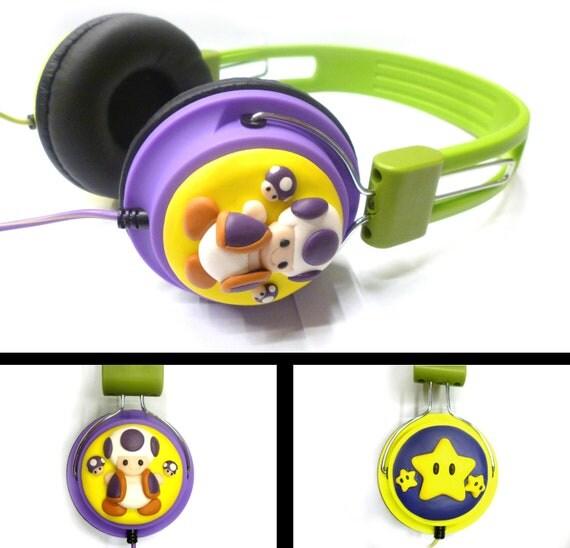 Super Mario inspired headphones - polymer clay
