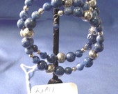 Retro Hand Crafted LAPIS & Silver / Plate Beads Very Cool Coil Style Bracelet