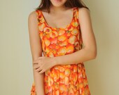 Sundress Colorful Summer Red Orange Peach Print Top Tank Dress or Tunic for Any Occasion