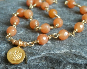 Orange Carnelian Wire Wrapped Necklace with Gold Vermeil Lotus Charm - Orange Faceted Beads and round Lotus pendant Necklace