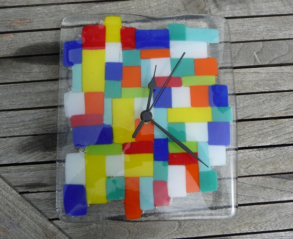 Mosaic Wall Clock  Fused Glass Random Tiles of Blue,Teal,Lime,Turquoise,White,Yellow,Orange and Red on a Clear Background Gift Boxed