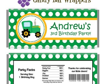 Farm Candy Wrapper - Green Polka Dot Farm Tractor Personalized Birthday Party Favor Candy Bar Wraps - A Digital Printable File