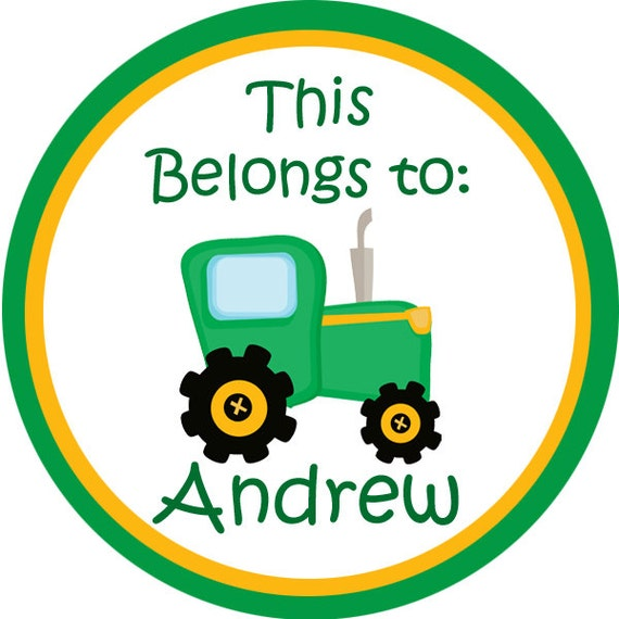 Name Tag Stickers - Green and Yellow Farm Tractor Personalized Name Label Stickers - 2 inch Round Labels - Perfect for Back to School Labels