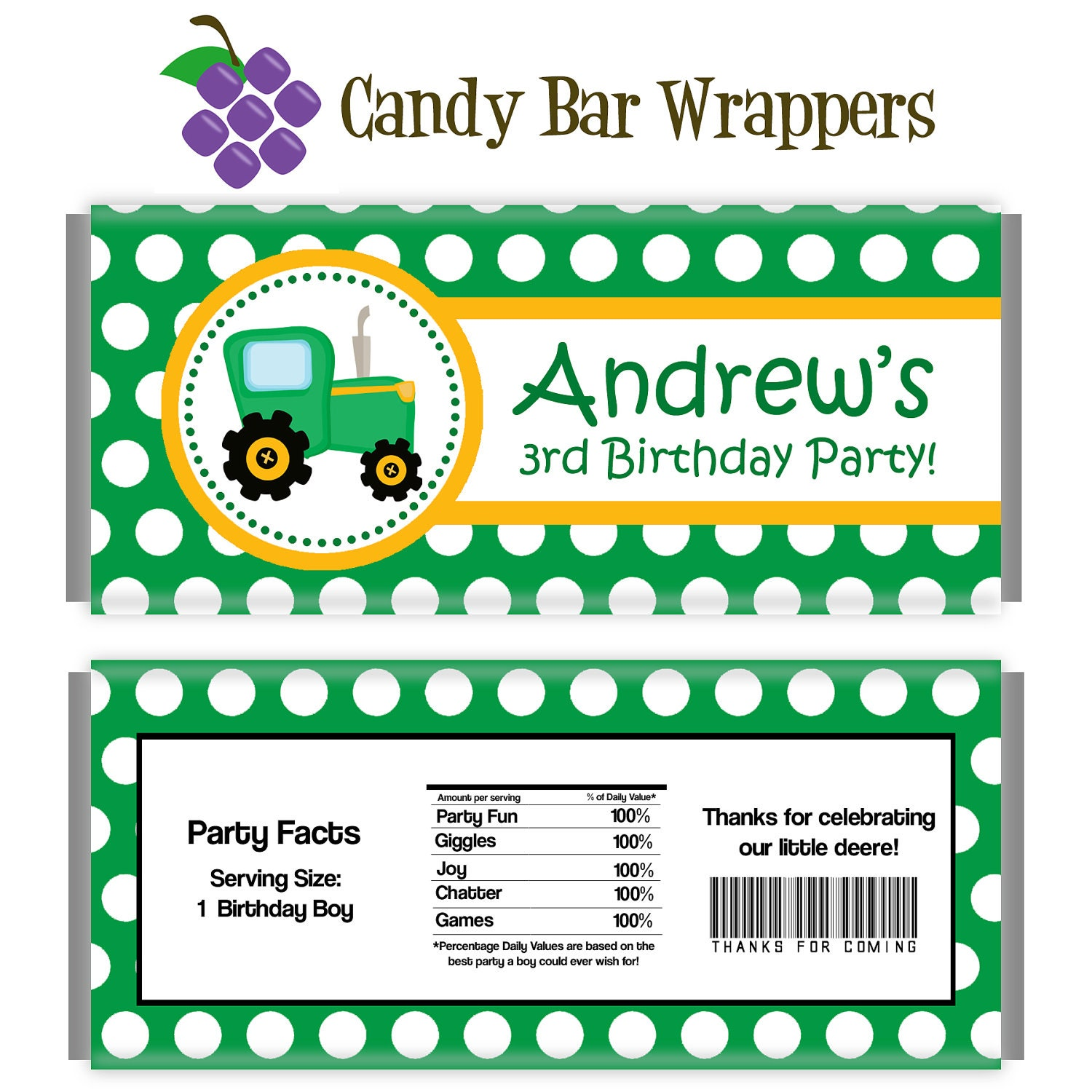 Farm Candy Wrapper Green Polka Dot Farm Tractor Personalized