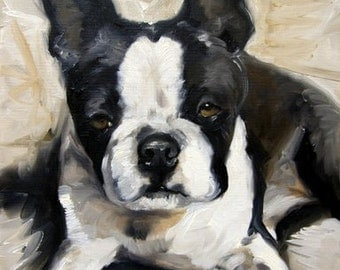 PRINT Boston Terrier Dog Puppy Art Oil Painting / Mary Sparrow Smith