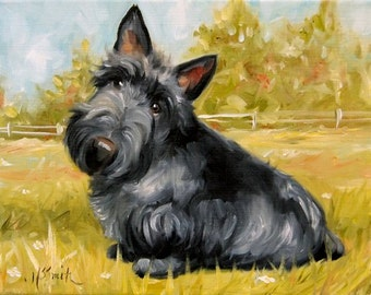 PRINT Scottish Terrier Scottie Dog Puppy Art Oil Painting / Mary Sparrow