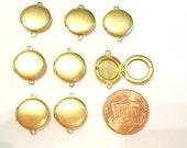 12 Vintage Brass Round 13mm. Smooth Locket Connectors E44