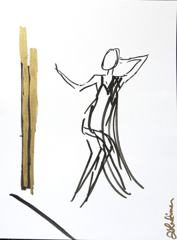 Dancing in the Mirror Original Ink and Gold on Paper. Couture Abstract