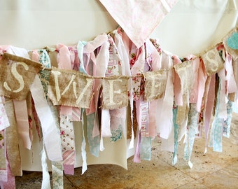 Fabric Banner - Shabby Chic Garland, Photo Prop, Party Decor