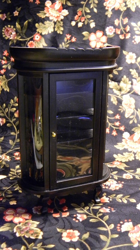 Dollhouse China Cabinet - Black Curved Glass Cabinet - Spooky Halloween Display Cabinet - Antique Style Cabinet  1 12th Scale