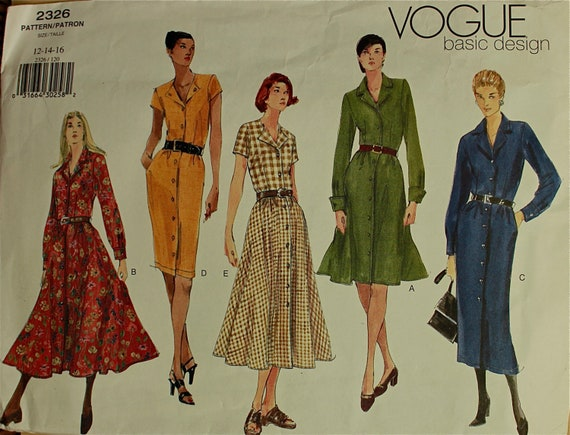 Shirtdress Set Vogue Basic Design Pattern 2326  Uncut Sizes 12-14-16  Bust 34-36-38""