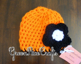 """HALLOWEEN NB through 5T """"Little Boo"""" Fall Hat, Orange with Black Flower for Baby/ Toddler"""