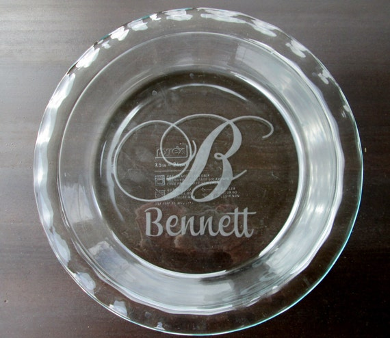 Round Custom Etched Pyrex Glass Pie Plate By Kgcustomdesigns
