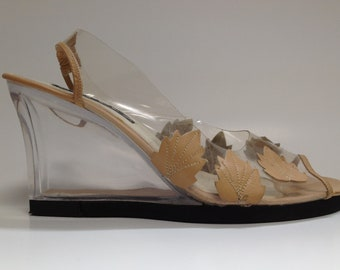 Clear Wedge With Leather Leaves - 7.5 - SALE