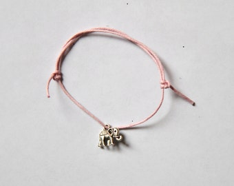 silver elephant charm on waxed cotton cord adjustable friendship bracelet