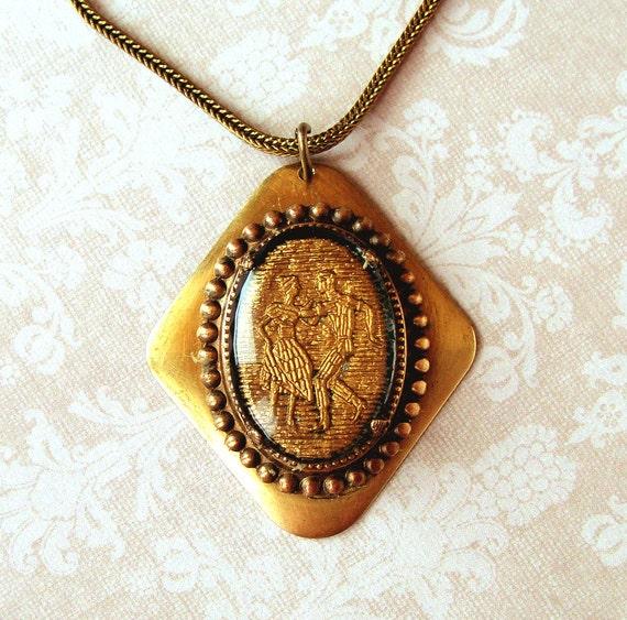 Vintage  Intaglio Folk DancersNecklace  Black and Gold, Glass Brass, rustic, Boho, Antique Brass Snake Chain