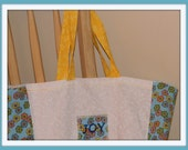 "Reusable ""Joy"" Market Tote Bright Blue and White"