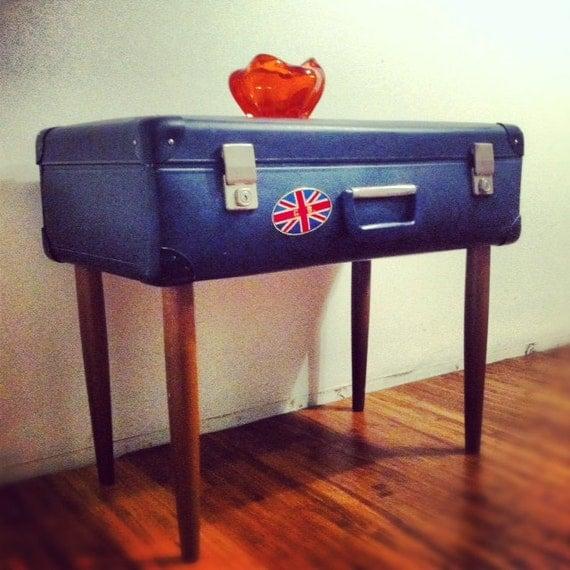 vintage suitcase side table lamp table bedside table vintage trunk vintage chest