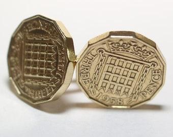 1958 Threepence 3d 59th birthday Cufflinks - Original 1958 threepence coin cufflinks 59th