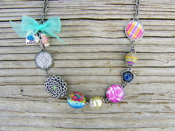 Charm Necklace Colorful Shabby Chic Swarovski Crystal Heart Charm Flower Links Glass Beads Lampwork Beads Turquoise Bow