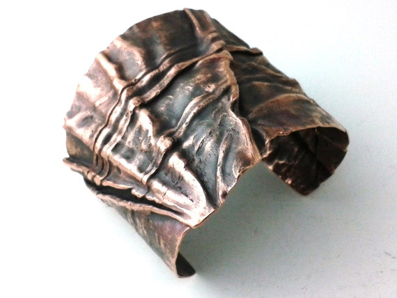 Funky Bracelet Cuff Copper Fold Formed Forged Earthy - OOAK Medieval Gothic Boho Oxidized Patina Antique Ripples Jewelry - A Wrinkle in Time
